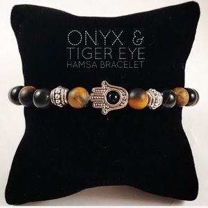 Men or women matte tiger eye onyx hamsa bracelet